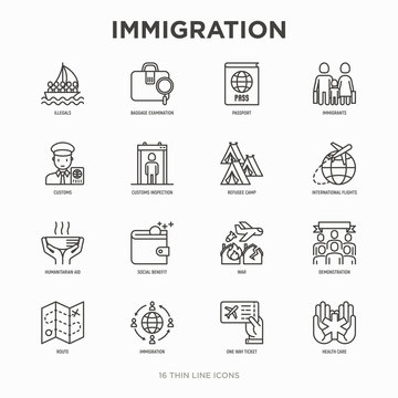 Immigration thin line icons set: immigrants, illegals, baggage examination, passport, international flights, customs, inspection, refugee camp, demonstration. Modern vector illustration.
