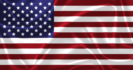 Illustration of USA waving fabric flag.