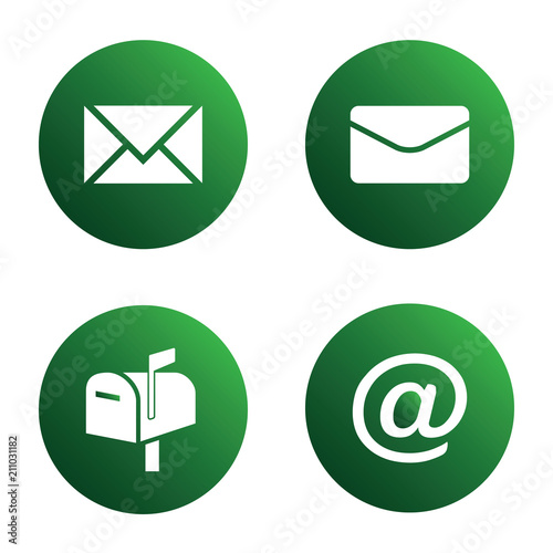 Vector Icon Set Green Mail Icons Envelopes Mailbox Mail Symbol