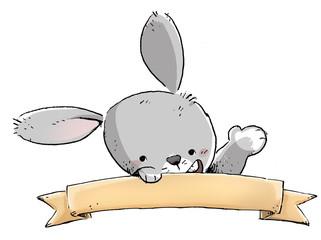 conejo con rotulo