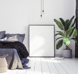 Posters mock-up in new Scandinavian bedroom, 3d render