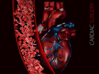 human heart and vein with blood cells. polygonal graphics 3d Illustration