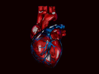 human heart, polygonal graphics 3d Illustration black background
