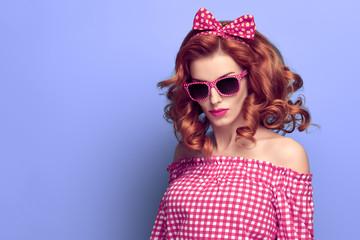 Fashion Young Pretty Redhead PinUp Girl Having Fun