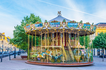 Merry-go-round on a square in Bordeaux, France