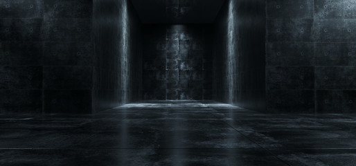 Empty Dark Grunge Concrete Room With Lights On The Walls 3D Rendering