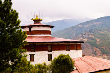 Temple in Himalayan Buddhist sacred site of Paro Valley, Bhutan