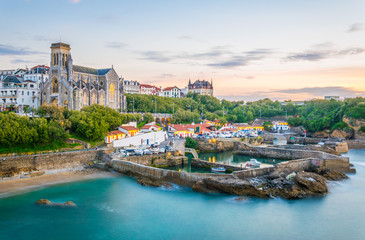 Sunset view of church Sainte-Eugenie in Biarritz, France Wall mural