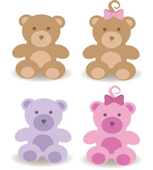 Teddy bears, brown, pink and blue fluffy toys