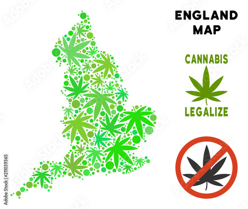 Map Of England Template.Royalty Free Cannabis England Map Composition Of Weed Leaves