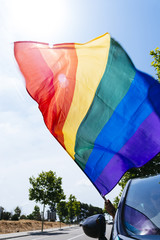 man in a car waving a rainbow flag.
