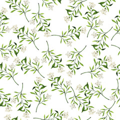 Seamless pattern with white flowers and green leaves on white background. Hand drawn watercolor illustration.