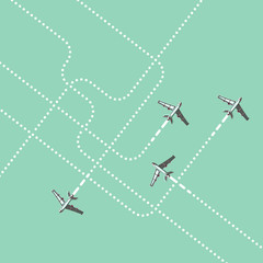Airplanes with trails. Tracking. Flat illustration.