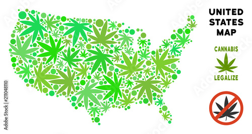 Royalty free marijuana USA map mosaic of weed leaves. Concept for ...