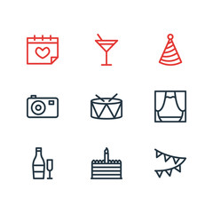 Vector illustration of 9 party icons line style. Editable set of birthday cake, party hat, scene and other icon elements.
