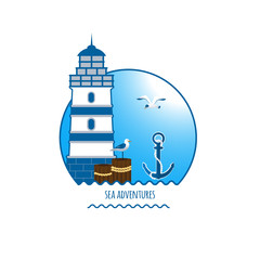Lighthouse emblem, anchor and seagull vector