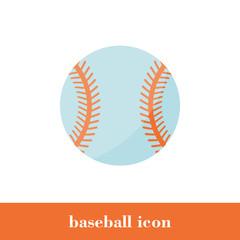 Vector Illustration. Baseball icon. Flat style. Ball
