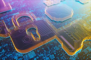 3D illustration. Digital embossed padlock, digital security image concept.