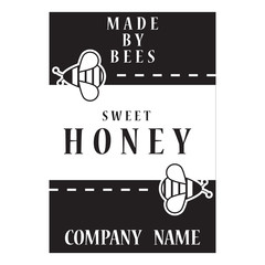 honey booklet with bee,template for advertising beekeeping products,vector image, flat design