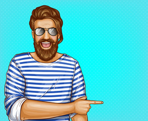 Vector pop art brown haired man with beard in striped shirt and glasses. Cheerful guy points with finger at summer sales, discounts. Character isolated on blue background. Sale, ad poster, banner.