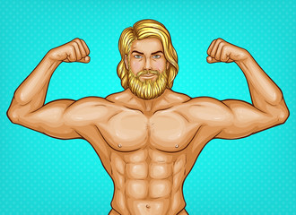 Vector pop art naked male character with bare chest, great muscles shows his biceps. Blonde sportsman, trainer with nude torso and beard. Attractive athlete isolated on blue background