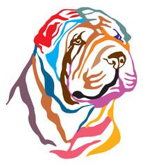Colorful decorative portrait of Dog Shar Pei vector illustration