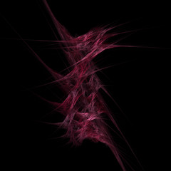 Spiky Red - Fractal Flame. Has red and pink spiky and webbed pattern. Black background.