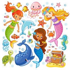 Mermaids among the fishes hold hands. Vector illustration on a sea theme in cartoon style. Picture with fish under water.
