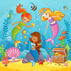 Mermaids play under the water. Vector illustration on a sea theme in cartoon style. Picture with fish under water.