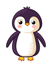 Cartoon Penguin Icon. Vector illustration in childrens style.