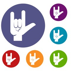 Rock gesture icons set in flat circle red, blue and green color for web