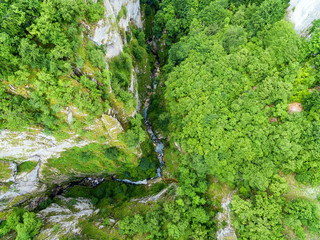 Aerial view at stunning canyon Nevidio in Montenegro