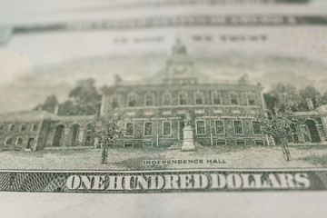 American Dollars Cash Money. One Hundred Dollar Banknotes.