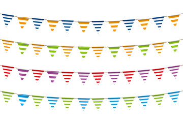 Illustration material: colorful triangle flag · party flag   border print, vector   vector data