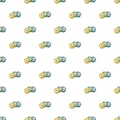 Colorful casino tokens pattern seamless repeat in cartoon style vector illustration