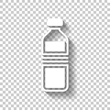 bottle of water, simple icon. White icon with shadow on transpar