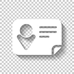 Identification card icon. White icon with shadow on transparent