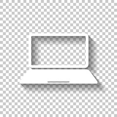 Laptop or notebook computer icon. White icon with shadow on tran