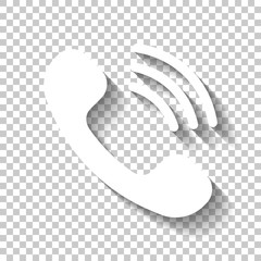 Ringing phone icon. Retro symbol. White icon with shadow on tran