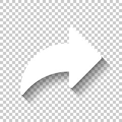 Share icon with arrow. White icon with shadow on transparent bac