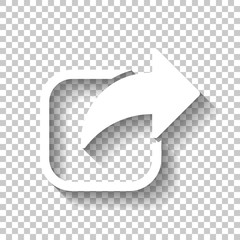 Share icon. Arrow and square. White icon with shadow on transpar