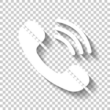 Ringing phone icon. Retro symbol. White icon with shadow on tran