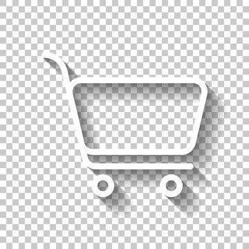 Shopping cart icon. Simple linear icon with thin outline. White