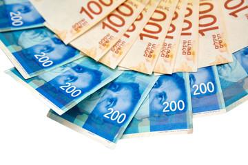 one hundred, two hundred shekels, isolated on white background