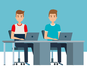 young boys in the workplace avatars characters vector illustration design