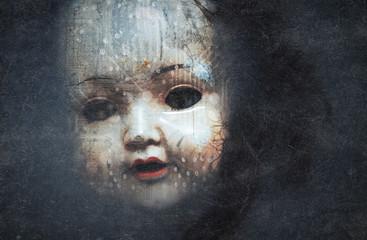 Creepy doll face, cyberpunk style