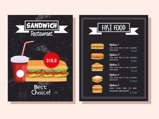 delicious fast food restaurant menu card vector illustration design