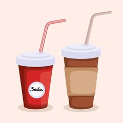 soda and coffee in plastic container vector illustration design
