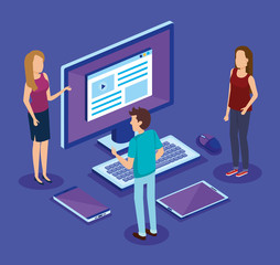 digital technology with people isometrics vector illustration design