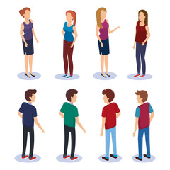 persons group isometric avatars vector illustration design